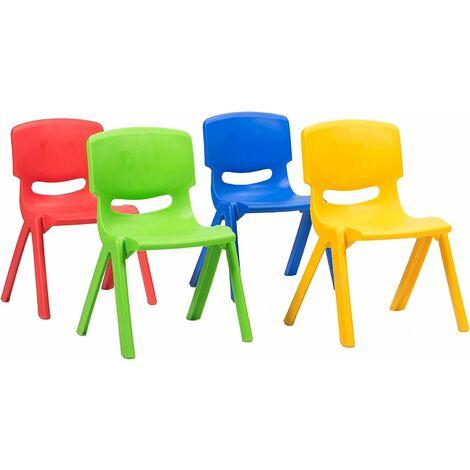 COSTWAY Chaises pour Enfants, Chaises d'Ecole pour Enfants pour Apprendre, Manger et Jouer, Fabriquer en Plastique Multicolore, Idéal pour Salle de Jeux, Jardin d'Enfant, Maison etc.