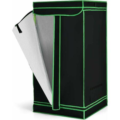 COSTWAY Chambre de Culture 60 x 60 x 120 cm Tente de Culture Hydroponique Pousse Culture Hydroponique Tissu Oxford Noir