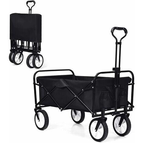 COSTWAY Chariot de Jardin Pliable Remorque de Jardin avec 4 Roues Lisse (2 avec Freins) Chariot d'Extérieur pour Jardinage Charge Max. 150 KG en Acier Noir