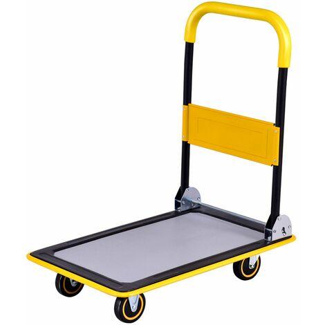 COSTWAY Chariot Plateforme Pliable de Transport avec 4 Roues et Poignée Caoutchouc Chrage de 150 KG en Fer Jaune 73 x 47 x 83 CM