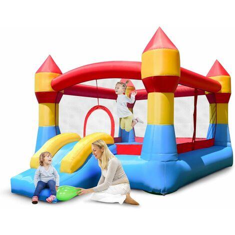 COSTWAY Château Gonflable Aire de Jeux Gonflable avec Toboggan pour Enfant en Tissu Oxford Equipée de Filet Protecteur 370 x 280 x 230 CM