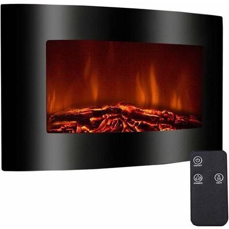 COSTWAY Cheminée électrique murale 900W/1800W feu flamme LED chauffage télécommande