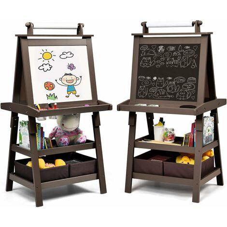 COSTWAY Chevalet pour Enfants 3 en 1 Tableau de Dessin Magnétique Double Faces (Tableau Blanc + Tableau Noir) avec Rouleau de Papier, 2 Etagères, 2 Boîtes de Rangement (Café)