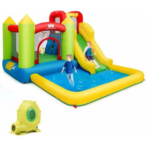 COSTWAY Ch?teau Gonflable pour 3 Enfants avec avec Souffleur 680W,Aires de Jeux Multiples et Kit de Réparation Charge Max 135KG