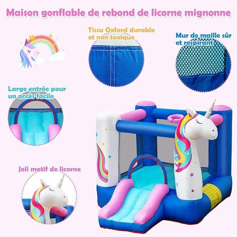 COSTWAY Ch?teau Gonflable pour Enfants avec Souffleur 480W Toboggan Panier de Basket Thème Licorne Housse de Transport Piquets