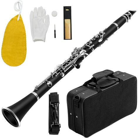 COSTWAY Clarinette 17 Clés avec 2 Barillets et un Kit d'Embouchure Mallette de Transport Portable, Intonation Précise pour Débutants, Etudiants, Intermédiaires Noir