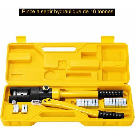 COSTWAY Coffret de Pince à Sertir 16 Tonnes, Outil de Sertissage Hydraulique pour Câble 16-300 mm2 Pince Sertissage Professionnelle avec 11 Têtes Ajustables