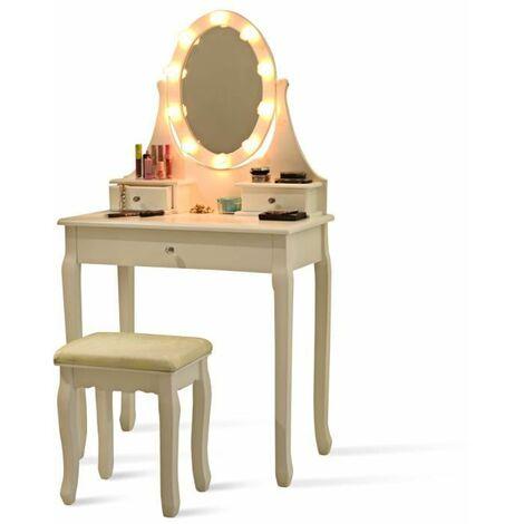 COSTWAY Coiffeuse avec 10 Ampoules LED en Forme de Rose et Tabouret, Miroir Ovale à 3 Tiroirs Lampe Blanche Romantique