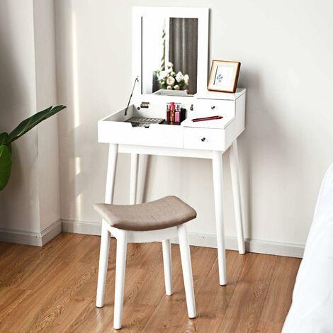 COSTWAY Coiffeuse avec Tabouret 2 Tiroirs Miroir Rabattable Table de Maquillage Coiffeuse Moderne