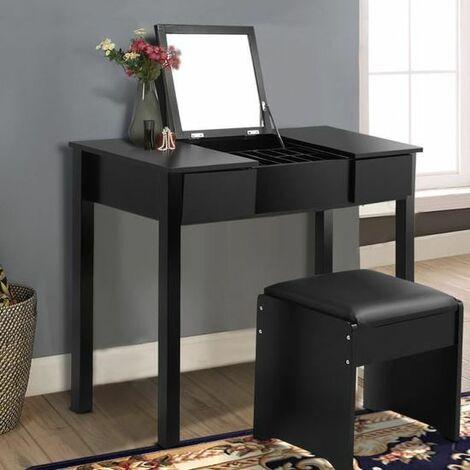 COSTWAY Coiffeuse noir table de maquillage commode avec miroirtabouretboîte de rangement 2 tiroirs
