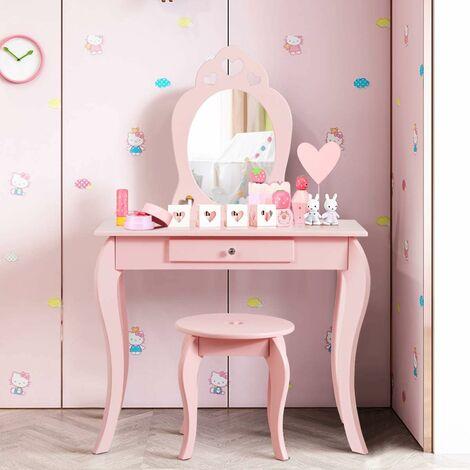 """main image of """"COSTWAY Coiffeuse pour Enfant avec Miroir, Inclus de Table de Maquillage et deTabouret, Dessus Amovible, Contemporain, 70 x 34 x 105 cm (Rose)"""""""
