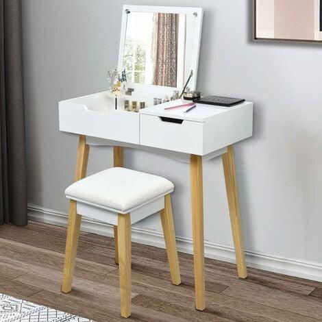 COSTWAY Coiffeuse, Table de Maquillage avec 1 Miroir Carré Rabattable,1 Tabouret Capitonné,1 Tiroir et 1 Compartiment de Rangement