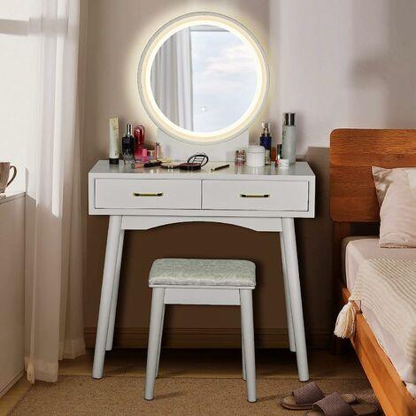 COSTWAY Coiffeuse, Table de Maquillage avec LED et Tabouret Rembourré 3 Couleurs de Lumière Réglables 80x40x132 cm (L x l x H) Blanc