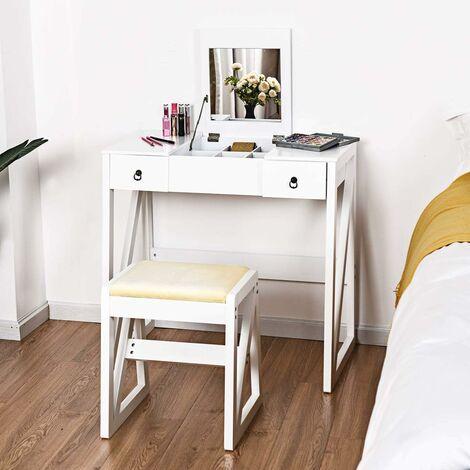 COSTWAY Coiffeuse Table de Maquillage Style Moderne avec 1 Miroir, 2 tiroirs et 1 Tabouret 80 x 40 x 76 cm Blanche