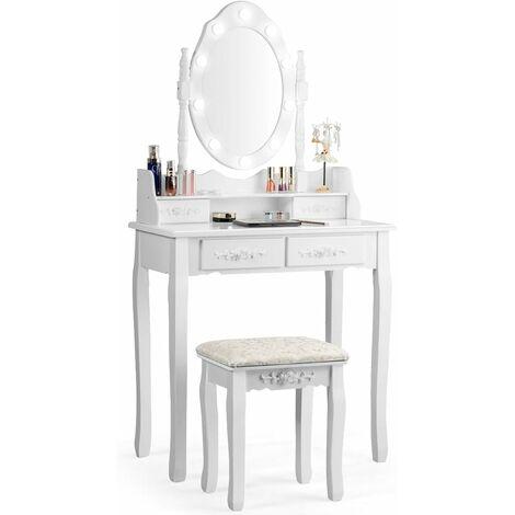 COSTWAY Coiffeuse,Table de Maquillage avec Miroir Oval et 10 Ampoules LED à Intensité Variable 4 Tiroirs de Rangement
