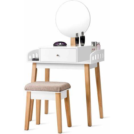 COSTWAY Coiffeuse,Table de Maquillage en Bois avec Miroir Rond Hauteur Réglable Tabouret et Grand Tiroir 70 x 43 x 125,5CM
