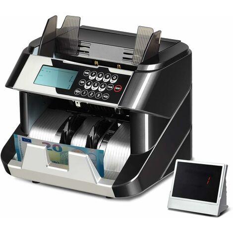 COSTWAY Compteuse de BilletsMachine à Compter avec 2 Ecrans,UV/MG/IR/DD,Démarrage Auto/Manuel,Arrêt,Effacement Noir