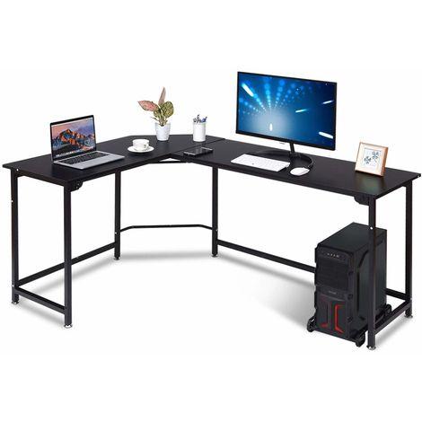 COSTWAY Computertisch L-Form, Eckschreibtisch mit CPU-Staender, Schreibtisch PC-Tisch, Buerotisch Ecktisch Winkelschreibtisch, Heimarbeitsstation Schwarz