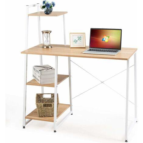 COSTWAY Computertisch mit 4 Regaln, Schreibtisch Holz & Metall, PC Tisch Buerotisch Arbeitstisch Officetisch fuers Buero, Arbeitszimmer, Wohnzimmer 98x50x118cm