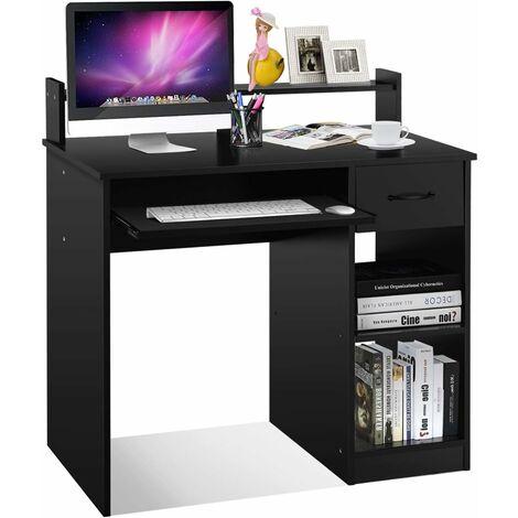 COSTWAY Computertisch mit Ablage, Schreibtisch PC-Tisch Computerschreibtisch Buerotisch Laptoptisch Arbeitstisch 90x48x91,5cm
