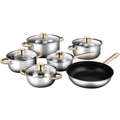 """main image of """"COSTWAY Cookware Set, 6 Pieces Stainless Steel Pots and Pans with Glass Lid and Handle, Oven Dishwasher Safe Home Kitchenware Set for Induction Cooker Gas Stove"""""""