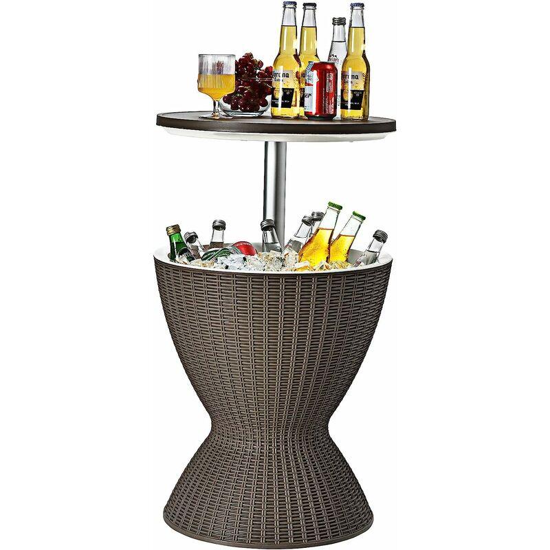 Cool Bar 30L Table Basse 2 en 1 avec Plateau Relevable Ø 43cm Imitation Rotin pour Fêtes Terrasses Jardins - Costway