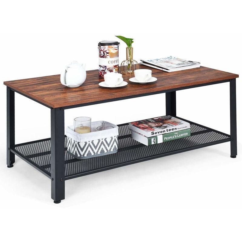 Beistelltisch Holz Braun Tischplatte mit Rand Ø41cm Telefontisch Deko Wohnzimmer