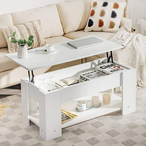 COSTWAY Couchtisch hoehenverstellbar, Sofatisch mit Ablagefach, Beistelltisch aus Holz, Kaffeetisch Teetisch fuer Wohnzimmer Balkon Flur Weiss