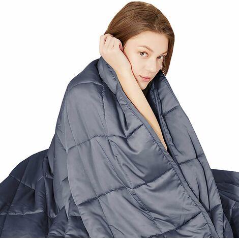 COSTWAY Couverture lestée, couverture alourdie respirante 104x152cm avec revêtement en bambou 100% naturel