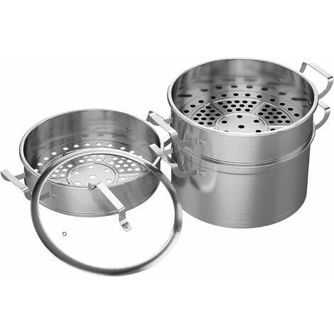 COSTWAY Dampfgarer mit 3 Behaeltern und Glasdeckel, Dampftopf aus Edelstahl, Gardampfkochtopf Set induktionsgeeignet