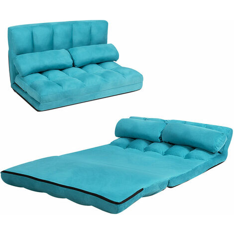 COSTWAY Double Folding Sofa Bed, 6-Position Adjustable Lounger Sleeper Seat Chair with 2 Pillows, Home Office Living Room Bedroom Floor Lazy Sofa Bed Blue