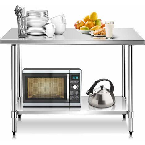 COSTWAY Edelstahl Kuechentisch Arbeitstisch Gastro Tisch Edelstahltisch Zubereitungstisch mit Zwischenbord 122 x 61x 90cm