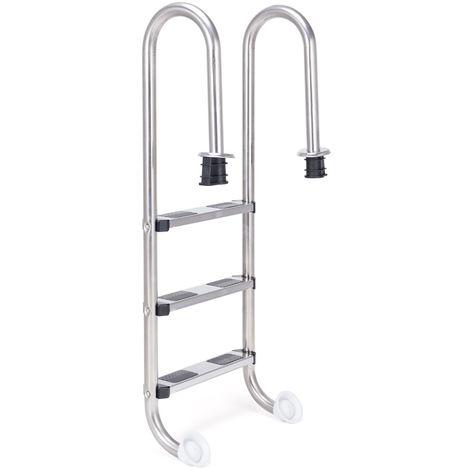 COSTWAY Edelstahl Poolleiter, Schwimmbad Leiter 3 stufig, Einstiegsleiter Silber, Schwimmbadleiter rutschfest, Einbauleiter 132 x 50 x 26 cm