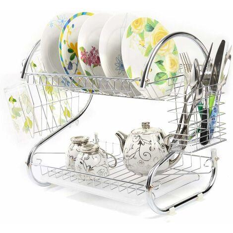 COSTWAY Egouttoir Vaisselle en Acier Inoxydable Double Niveau avec Porte-Tasse pour Tasses, Verres et Couverts Égouttoir Couverts