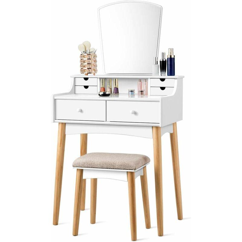 Armoire cosm/étique de table miroir avec coiffeuse tabouret coiffeuse,BlackAWith bulb