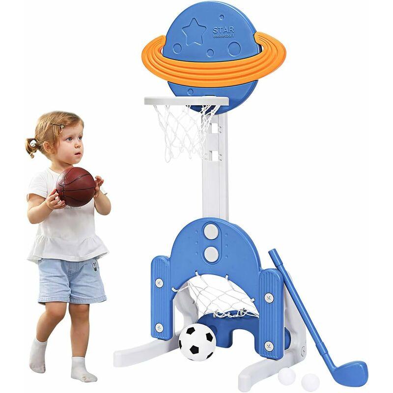 COSTWAY Ensemble de Basket 3-en-1, Hauteur Ajustables de 111cm à 151cm, Inclus Jeu de Basketball, Football