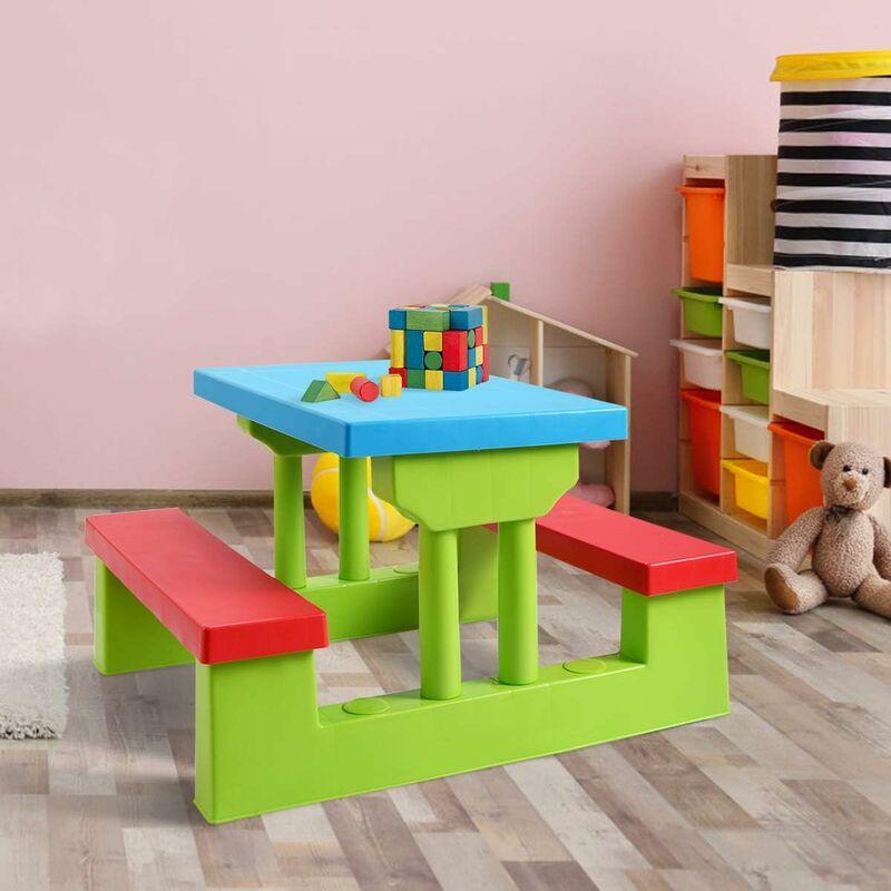 COSTWAY Ensemble de Jardin pour Enfants Table et 2 Bancs avec Parasol Table d'Activité Exterieur