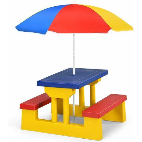 COSTWAY Ensemble Salon de Jardin pour Enfant Table et 2 Bancs avec Parasol en Bois Meuble Extérieur Jusqu'à 4 Enfants