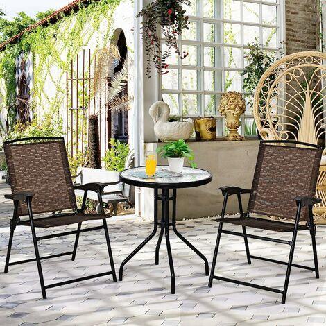 COSTWAY Ensemble Salon de Jardin Table et 2 Chaises Pliantes 2 Personnes Table Bistrot Ronde en Verre Trempé pour Piscine Terrasse