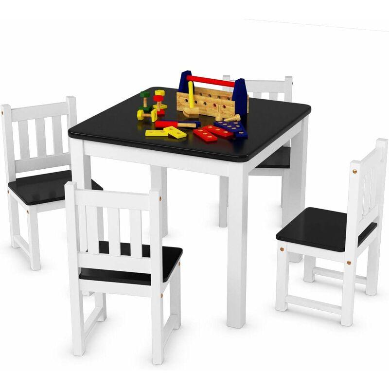 Costway Ensemble Table Et 4 Chaises Enfant En Bois Pour Trvailler