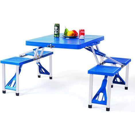 COSTWAY Ensemble Table et 4 Chaises Pliable Portable en Plastique pour 4 Personnes avec Trou de Parasol pour Camping Pique-nique BBQ