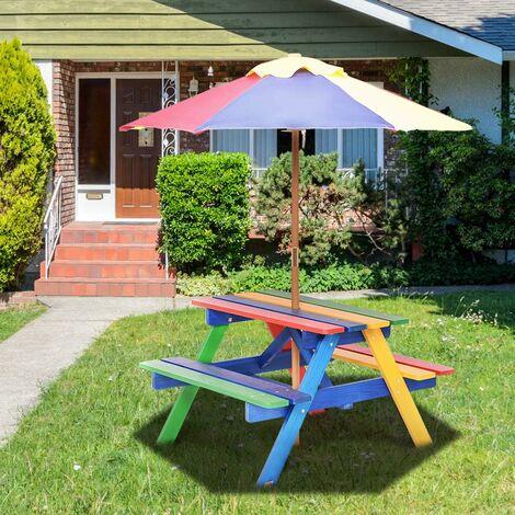 COSTWAY Ensemble Table et Bancs de Jardin avec Parasol pour Enfants Table de Pique-nique en Bois 79 x 71 x 52,5 CM 4 Sièges Disponibles