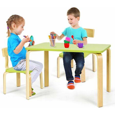 COSTWAY Ensemble Table et Chaise pour Enfant, Inclus 1 Table et 2 Chaises, Bonne Protection En Bois Courbé, Idéal pour l'Intérieur