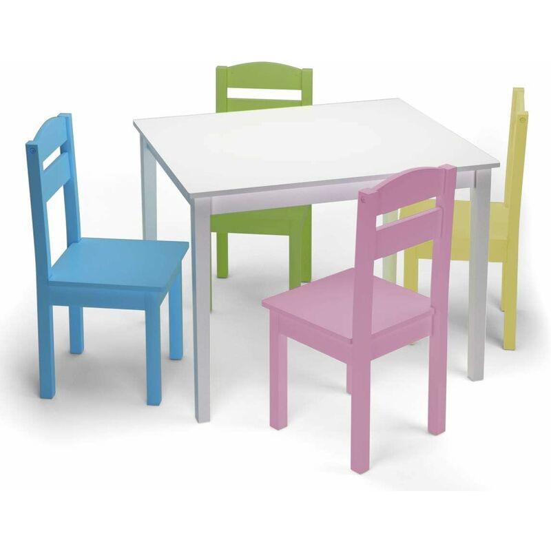 COSTWAY Ensemble Table et Chaises Enfant en Bois pour Travailler,Manger,Jouer 66 x 56 x 49CM Table en Blanc et Chaises Colores