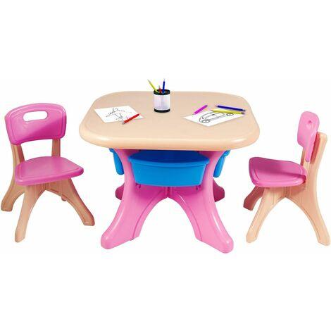 COSTWAY Ensemble Table et Chaises pour Enfant, Inclus 1 Table et 2 Chaises, Matériau Ecologique, Forte Capacité de Charge
