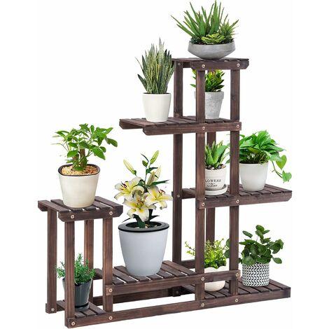 COSTWAY Etagère à Fleurs en Bois Porte-Fleurs 6 Niveaux pour Plantes Porte Pot de Plantes Support de Rangement 95 x 25 x 96 cm
