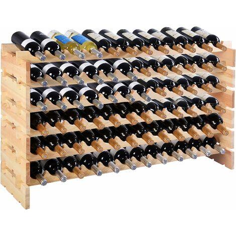 COSTWAY Étagère à Vin Casier à 72 Bouteilles en Bois de Pin Robuste Modulable 119 x 29 x 71,5 CM