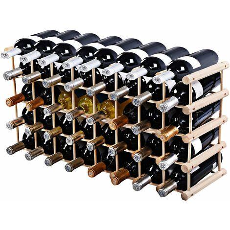 COSTWAY Etagère à Vin Casier à Vin Porte-bouteille en Bois de Pin Massif Support 40 Bouteilles 102, 5 x 24 x 33 cm Bois Naturel
