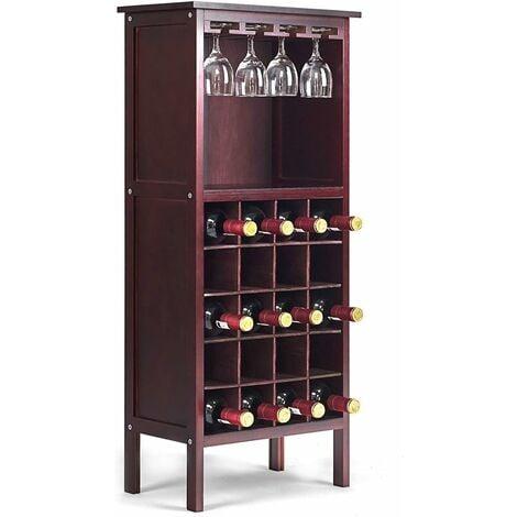COSTWAY Étagère à Vin Range Bouteille Casier à Vin avec Porte-Bouteille Armoire Cabinet de Vin en Bois en Pin 24,5cmx42cmx96cm