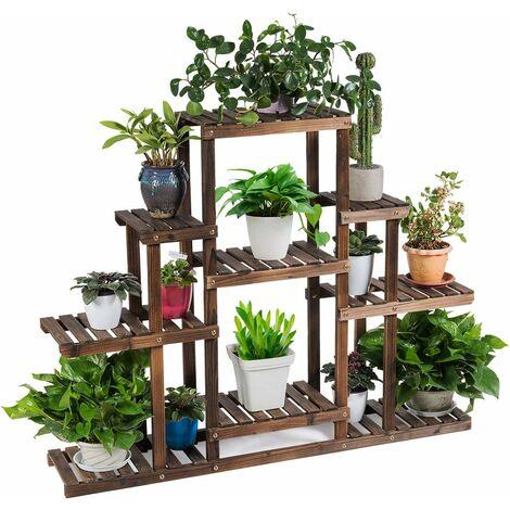 COSTWAY Etagère pour Plantes en Bois avec 6 Niveaux Marron 120x25x95,5cm Porte Fleurs Durable Décorative pour Maison Balcon Terrasse